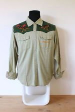 MAMBO MENS SHIRT long sleeve cowboy Western size meduim M Med khaki green Cotton