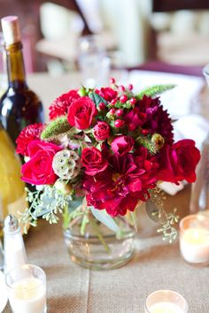 Burgundy wedding flowers centerpiece | Rustic Fall Wedding In Burgundy Hues At Olympia Valley Estate California | Photograph by Heather Scharf Photography  http://storyboardwedding.com/rustic-fall-wedding-olympia-valley-estate-california/