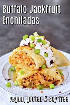 these tangy Vegan Buffalo Jackfruit Enchiladas fill that need for warm and satisfying comfort food. make ahead for a quick and easy weeknight dinner. Vegan Mexican Recipes, Vegan Dinner Recipes, Dairy Free Recipes, Whole Food Recipes, Vegetarian Recipes, Healthy Recipes, Healthy Eats, Vegan Meals, Healthy Desserts