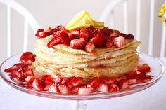 Lemon Strawberry Crepe Cake