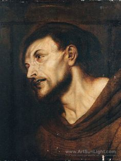 Oil sketch of the head of the saint, the last Holy Communion, Francis of Assisi, ~ - Peter Paul Rubens