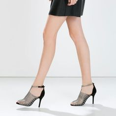 "Zara caged heels Silver & suede black. 4"" heels. Worn once. SOLD OUT IN STORES. Original box included. Zara Shoes Heels"
