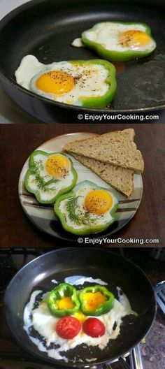Eggs Fried with Tomato in Bell Pepper Ring Recipe. Looking for bright colors for fresh and energetic start of the day? This is your recipe: easy nutritious breakfast eggs and very fun looking also, when prepared accurately. I bet your kids will love . Cooking Fails, Food Fails, Cooking Recipes, Healthy Recipes, Yummy Recipes, Nutritious Breakfast, Breakfast Recipes, Eggs In Peppers, Red Peppers
