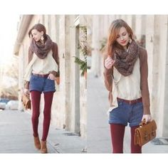 denim shorts, red tights, brown cardigan and flat ankle boots outfit-but the jumbo cowl makes it.