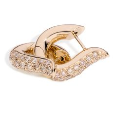 18kt rose gold large Pavé hoop earrings with round brilliant diamonds