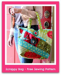 Sew a Scrappy Bag with this free PDF Sewing Pattern