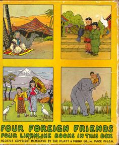 Vintage Four Foreign Friends  Four Linenlike by ShopHereVintage