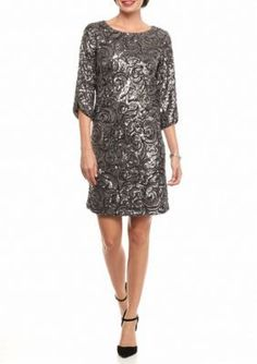 Luxology  Charcoal Sequin Shift Dress