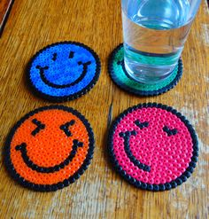 Items similar to Smiley Face Emoticon Hama Perler Bead Coasters Set of 4 on Etsy. Items similar to Smiley Face Emoticon Hama Perler Bead Coasters Set of 4 on Etsy – Ähnliche Art Perler Bead Designs, Hama Beads Design, Hama Beads Patterns, Beading Patterns, Jewelry Patterns, Embroidery Patterns, Jewelry Ideas, Peyote Patterns, Loom Patterns