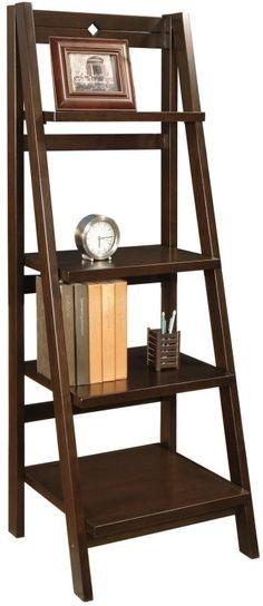bookcase wooden display shelf espresso - Folding Bookcase