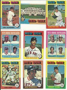 1975 Vintage Ex+ Topps RED SOX 27 cards team set lot HOF Yaz Fisk Rice Lynn RC   #BostonRedSox