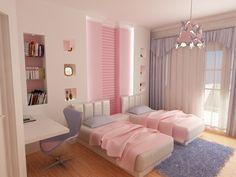 estupenda habitacion juvenil chica rosa y lavanda