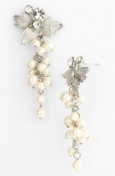 Nina 'Alecia' Faux Pearl Drop Earrings available at #Nordstrom