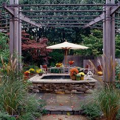 Outdoor Patio Oasis  I love this outdoor room ! It's great because it's small and very inviting. The sound of the fountain would be so relaxing.