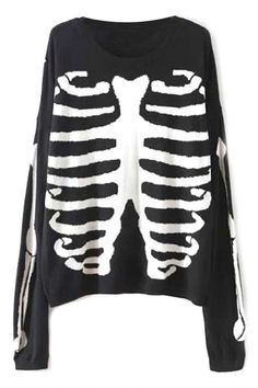 Edgy Skeleton Print Sweater.Check more from www.oasap.com .