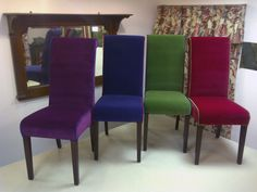 High-back dining chairs in Pierre Frey Opera velvet with alternate piping
