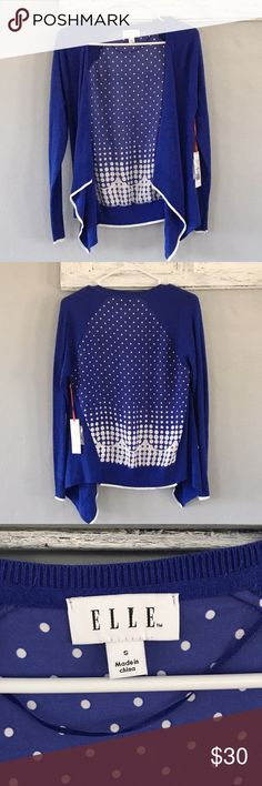 Elle blue cardigan with polka dot backing Elle blue open cardigan with a fun back! Hem is asymmetrical. New with tags!! Measurements in inches with the garment laying flat •armpit to armpit: 18 •length: 23 in back, 28 at the longest point Elle Sweaters Cardigans