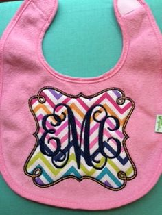 Custom Personalized Monogrammed Applique Bib by AimeesAppliques on Etsy https://www.etsy.com/listing/242031210/custom-personalized-monogrammed-applique