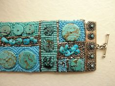 Embroidery Bracelets Patterns Bead Embroidered Cuff Bracelet - Wall of Turquoise Embroidery Bracelets, Bead Embroidery Jewelry, Beaded Embroidery, Beaded Jewelry, Handmade Jewelry, Beaded Bracelets, Jewellery, Bracelet Patterns, Beading Patterns