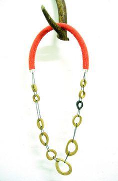 Knit and wood neckpiece