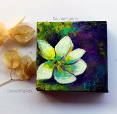 Mini Canvas Painting Small Art Flower By SacredFigArts