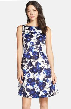 Vince Camuto Floral Print Fit & Flare Dress available at #Nordstrom