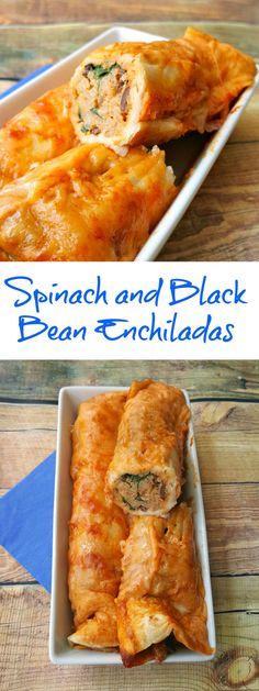 Fresh not frozen Spinach and Black Bean Enchiladas