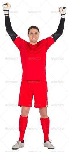 Fit goal keeper looking at camera on white background ...  30s, Goalie, Goalkeeping, Mid Adult, activity, arms, attractive, caucasian, cheerful, cut out, football, gear, goalkeeper, hands, handsome, happy, isolated, male, man, outstretched, player, ready, red, smiling, soccer, sport, sportsman, sportswear