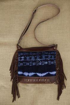 Brown Leather Fringe Bag with Indigo Cloth