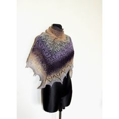 Purple Hand Knit Shawl, Hand Knit Purple Shawl, Ombre Knit Shawl,... (270 PLN) ❤ liked on Polyvore featuring accessories and scarves