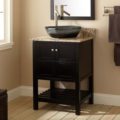 Update the look of your bathroom with the stylish Everett Vessel Sink Console Vanity. Brushed Nickel hardware and unique symmetrical designs adorn the front of the vanity, giving the Everett a versatile style to match varying styles. 30 Inch Bathroom Vanity, Teak Bathroom, Bathroom Furniture, Bathrooms, Bathroom Vanities, Downstairs Bathroom, New Bathroom Ideas, Bathroom Stuff, Bath Ideas