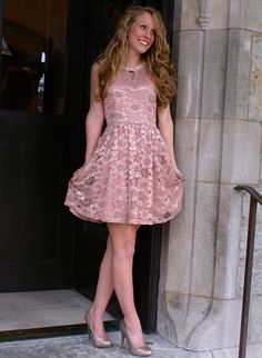 Floral Lace Blush Party Dress - free shipping!