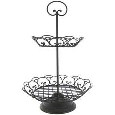 Black Metal 2-Tier Round Basket