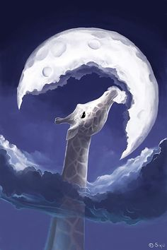 Girrafe eating the moon