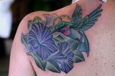 Purple Flowers And Hummingbird Tatoo On Back
