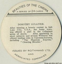 Dorothy Gulliver 1939 Rothmans Beauties of the Cinema Round Tobacco Card