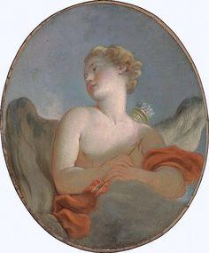 Jean-Honoré Fragonard - L'amour, dit être un portrait de Marie-Catherine Rombocoli-Riggieri Colombe comme Cupidon