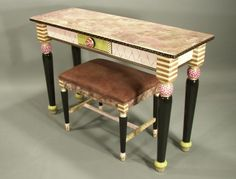 TURNDED LEG SOFA TABLE-PINK - (Shown with One-of-a-Kind vintage bench)