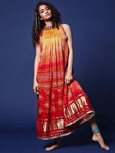 Shop Orange red designer bandhej kurti online from India. Indian Gowns, Indian Attire, Indian Outfits, Bandhani Dress, Saree Dress, Kurta Designs Women, Blouse Designs, Indian Designer Outfits, Designer Dresses