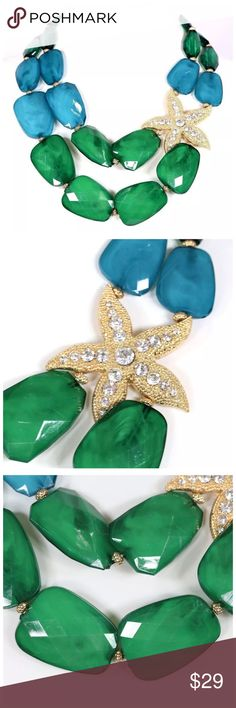 "D26 Blue Green Acrylic Stone Starfish Necklace ‼️PRICE FIRM‼️   Crystal Starfish Necklace  Retail $54  SPECTACULAR! Beautiful crystal adorned starfish. Acrylic stone beads. This is sure to dress up even the most basic outfit! Necklace is approximately 21"".  Starfish is approximately 2.5"". Free matching earrings. Please check my closet for many more items including designer clothing, scarves and much more. Jewelry Necklaces"