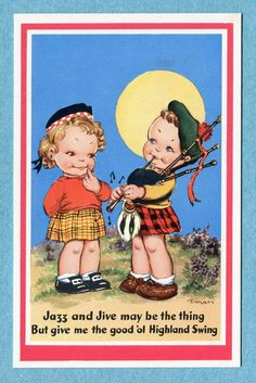 X9800 Postcard Boy and Girl in Scottish Costumes Boy Playing Bagpipes | eBay