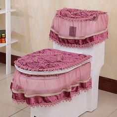High Grade Three-piece Set Toilet Seat Cover U-shaped Overcoat Toliet Case Home Decor Bathroom Products Lace Toilet Pads Mat