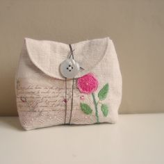 Pouch antique linen embroidered rose