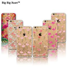 2016 New Pink Flamingo TPU Soft Case Cover For iPhone 6 6s Plus 5 5s SE Transparent Cute Animals Silicone Cell Phone Cases Capas