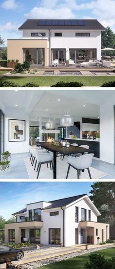 Modernes Satteldach Haus mit Büro Anbau & Galerie - Einfamilienhaus bauen Fertighaus Ideen Design Haus Concept-M 155 Bien Zenker Hausbau - HausbauDirekt.de
