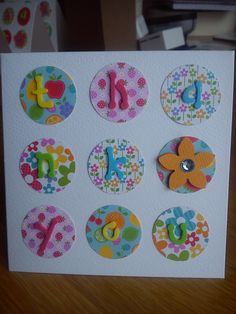 Handmade thank you card made with pretty papers
