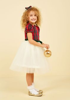 Plaid to Be Here Dress - 2T-8Y. Created in collaboration with Who's Little?, and exclusive to ModCloth, this twofer dress makes your little gal's heart merry as can be! #white #modcloth