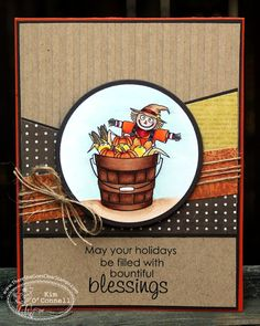 Thanksgiving card ... lovely coloring of the main image ... interesting layout from a card sketch ... textured  kraft ...