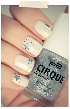 off-white with grey stars stamped on and silver glitter over
