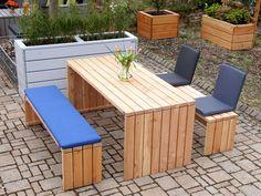 Gartenmöbel Set 1 Holz, mit Polster und Sitzschalen